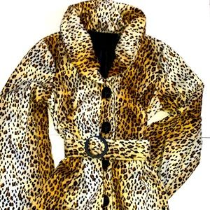 Forever 21 Couture Leopard Print Faux Fur Swing Coat, Large